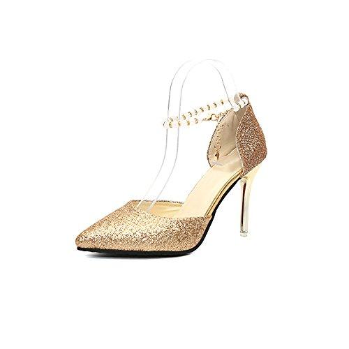 JUWOJIA Frauen Sandalen Bling Feine 9,5 cm High Heels Sommer Feine Bling Heel Damenschuhe Hochzeit Schuhe, Schuhe Golden 572422