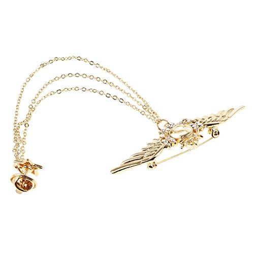 - Fityle Triple Layered Tassel Angel Wings Star Charms Pendant Collar Badge Brooch - Gold