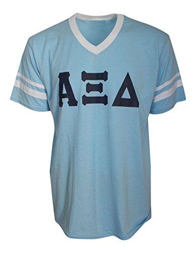 Mega Greek Womens Alpha Xi Delta Stripe Sleeve Jersey Large Light Blue (T-shirt Jersey Alpha)
