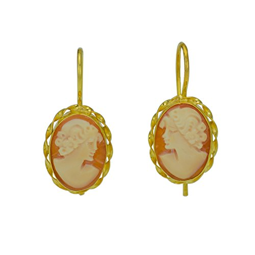 Cameo Earrings - Italian Carnelian Shell Cameo Earrings 14 mm - Genuine Shell Cameos