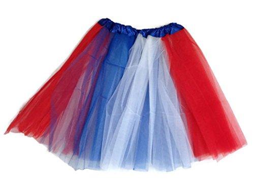 [Rush Dance Multi Color Women's PLUS SIZE Costume Ballet Warrior Dash Run Tutu (Adult, Red/Blue/White] (Plus Size Ballerina Costumes)