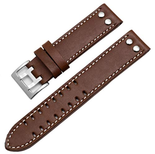 20mm / 22mm Leather Watch Band Strap Fits for Hamilton Khaki Field Aviation H70595593 (22mm, Smooth Brown(Silver Buckle))