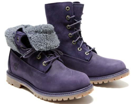Timberland Women's Authentics Teddy Fleece Fold Down,Dark Purple Full Grain Leather/Suede,US 6.5 M ()