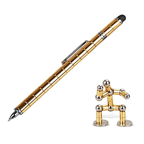 Magnetic Polar Pen, Stylus Pen, Magnet Gel Pen and Touch Screen Pen, Fidget Toy, can be Transformed into a Variety of Creative (Gold)