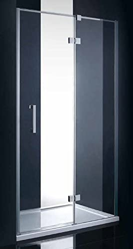 Mampara de ducha, 110x200 cm, espesor 8 mm, panel fijo+puerta abatible, tratamiento NANO: Amazon.es: Hogar