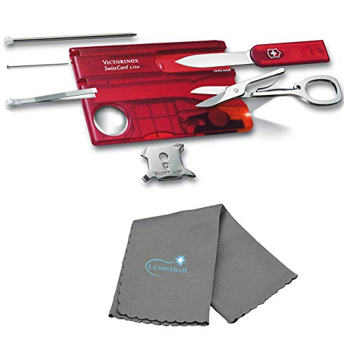 Victorinox SwissCard Lite Pocket Muti-Tool Card Everyday Carry EDC Travel Size Set BUNDLE with a Lumintrail Cleaning Cloth (Red - Victorinox Lite Pocket Knife