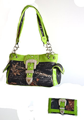 - western green camo mossy oak belt buckle rhinestone handgun carry purse wallet