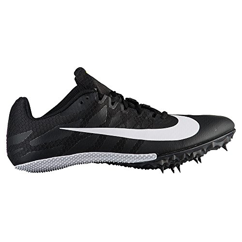 (NIKE Women's Zoom Rival S 9 Track Spike Black/White/Volt Size 8 M US)