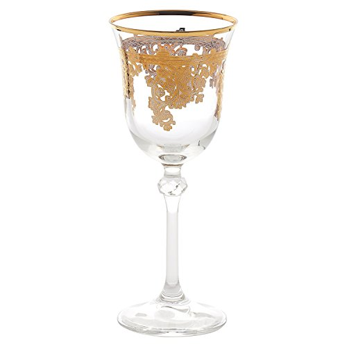 Lorren Home Trends Royal Set of 4 Embellished 24K Gold Crystal White Wine Goblets-Made In Italy, One Size, Clear ()