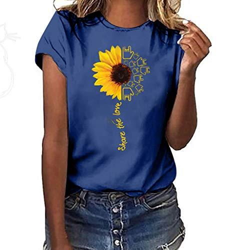 (Aniywn Summer T-Shirt, Women Sunflower Print Loose Round Neck Short Sleeve Basic Blouse Tops Navy)
