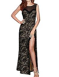 Women's Sexy Lace Sheer Slit Maxi Evening Dress