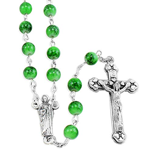 Saint Jude Rosary With Green Beads -