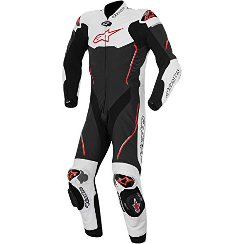 Alpinestars Atem Men's 1-Piece Street Motorcycle Race Suits - Black/White/Red / 52