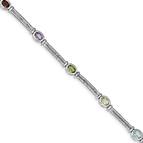 925 Sterling Silver Multi Color Semi Precious Bracelet 7 Inch Gemstone Fine Jewelry Gifts For Women For - Bracelet Personalized Mothers Precious Semi
