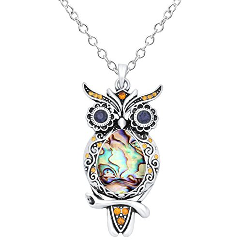 CHUANGYUN Silver-Plated Abalone Shell Colorful Rhinestone Owl Necklace 18'' (Yellow)