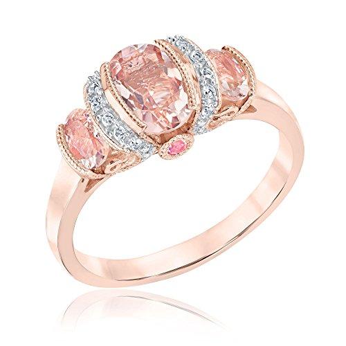 Morganite, Pink Tourmaline and White Sapphire Three-Stone