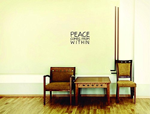 Decal Wall Sticker - ON SALE NOW : Peace Comes From Within Inspirational Life Quote - Self Esteem Home Decor Picture Art Size :20 Inches x 30 - 1873 Photo Art