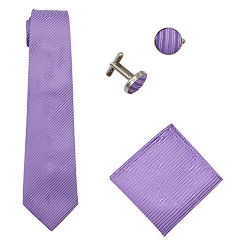Bioterti Men's 3-Piece Necktie Set:Solid Color Stripes Necktie, Pocket Square & Cufflinks (Light Purple) (Square Purple Cufflinks)