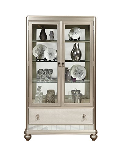 Pulaski Diva Mirrored China Cabinet with Platinum Finish