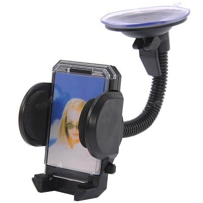 Car Gadgets Universal Handy 360 Degree Rotary Air-Outlet Car Windshield Mount Holder w/Suction Cup for Cellphone - Black