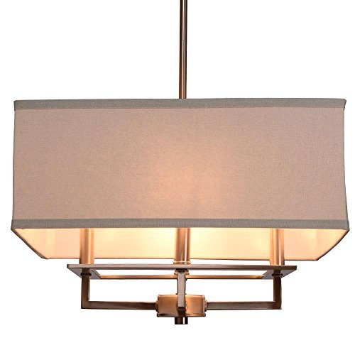 Nickel Chandelier Rectangular (Hampton Bay 4-Light Brushed Nickel Chandelier-20232-000)