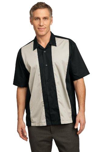 - Port Authority Men's Retro Camp Shirt XXL Black/Light Stone