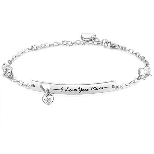"Gold Engraved Bracelet White (NINAMAID ""I Love You Mom"" Engraved 925 Sterling Silver Bracelet with Sparkling Cubic Zirconia Mother's Gift)"
