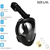 2018 New Upgrade Full Face Snorkeling Mask 180° Seal Rubber Ring Three-Layer Waterproof Design Anti-Fog Breathable Dry Snorkeling With Camera Stand For Adult Teen Black