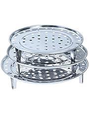 Runt ångställning, 19,3 cm 21,6 cm (9,5 tum) diameter ångstativ för matkonservering med 304 rostfritt stål multifunktionell ångkorg tillbehör för Instant Pot (3-pack)