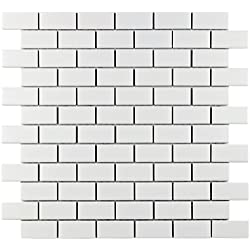 "SomerTile FXLMSMW Retro Subway Porcelain Floor and Wall Tile, 11.75"" x 11.75"", Matte White"