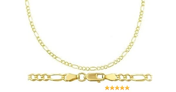 0c656ee02 Amazon.com: 14k Yellow Gold Bracelet Figaro Link Solid Mens Womens 2.5mm 7  inches: Jewelry