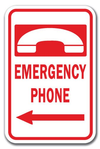 - Emergency Phone W/ Left Arrow Sign 12