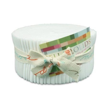 Moda Bella Solids White Bleached 9900-98 Jelly Roll, 40 2.5x44-inch Cotton Fabric Strips by MODA (Image #1)