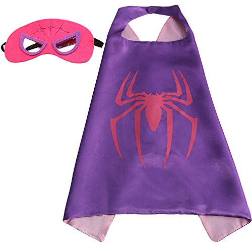 Girls Super hero Cape and Mask Dress Up Costume (Spider (Spider Woman Outfit)