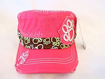 Dark Pink Cap For Ladies With Paw Prints