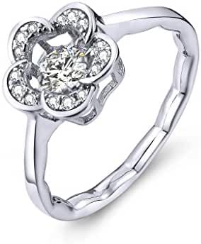YL Dancing Diamond Sterling Silver 4mm 0.49ct Cubic Zirconia Flower Ring with White Gold Plated