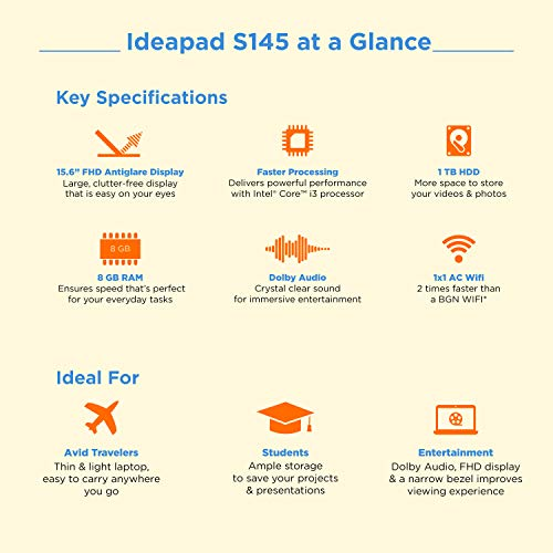 Lenovo Ideapad S145 Intel Core I3 8th Gen 15.6-inch FHD Thin and Light Laptop ( 8GB RAM / 1TB HDD / DOS / Black / 1.85 Kg) & N100 Wireless Mouse Combo