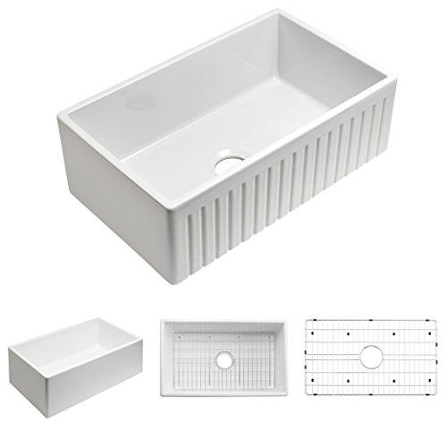 Empire Industries Sutton Place Reversible Fluted Front Farmhouse Fireclay, Kitchen Sink with Grid, 30