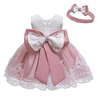 LZH Baby Dress, Flower Lace Dresses Bowknot Pageant Party Wedding Flower Girl Tutu Gown