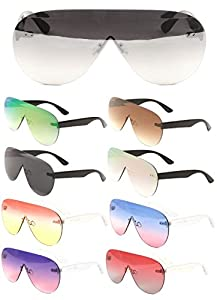 Disco Rimless Oversized Mono One Piece Shield Sunglasses