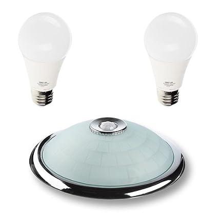 Lámpara de techo con sensor de movimiento, cromada, sensor 360°, lámpara con