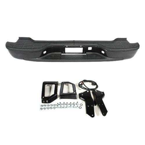 (CarPartsDepot 364-15111-20-BK Rear Step Bumper Replacement Steel Bar W/ Pad black GM1101115)