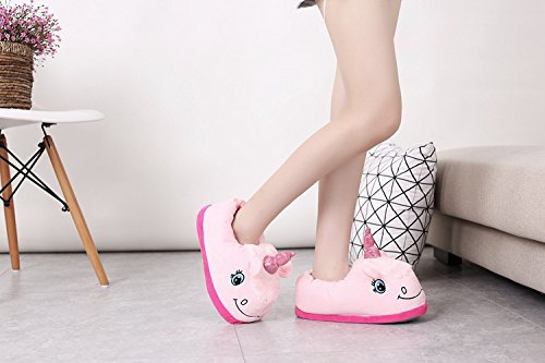 Aiigou Adulte Chaud En Peluche Pantoufles Licorne Mignonne Chaussures Dintérieur De Dessin Animé Rose