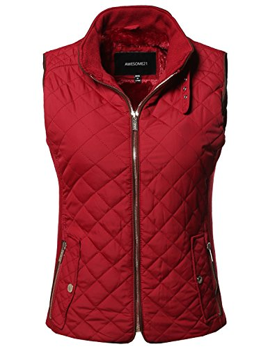 Casual Solid Suede Piping Detail Quilted Padding Vest Red Size M (Detail Suede Jacket)