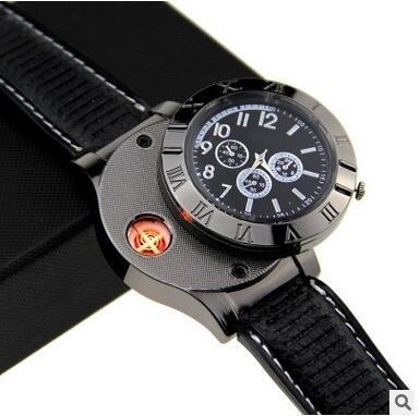 E-18th Military Men Lighter Watch USB Rechargeable Windproof Flameless Cigarette Lighter Wristwatch (black)
