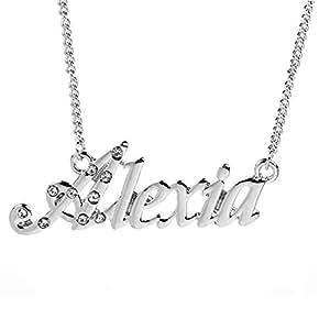 ad541886b411b Amazon.com: Zacria Name Necklace Alexia - 18K White Gold Plated: Jewelry