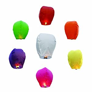 GGI INTERNATIONAL Chinese Sky Fly Fire Lanterns, Multi Color, 10-Piece