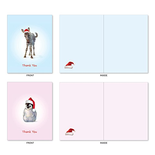 M6726XTB Christmas Zoo Babies: 10 Assorted Blank Christmas Thank You Note Cards Featuring Sweet and Adorable Baby Zoo Animals, w/White Envelopes. Photo #4