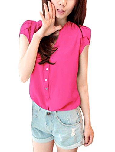 Allegra K Women Stand Collar Cap Sleeves Half Placket Blouse XL Fuchsia