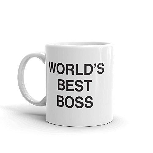 The Office World's Best Boss Dunder Mifflin Ceramic Mug, White 11 oz - Official Michael Scott Mug As Seen On The Office ()